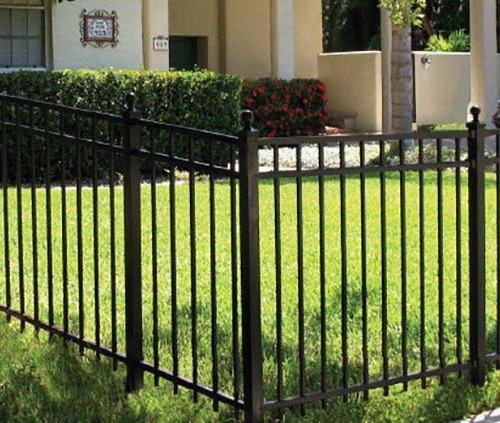 Black iron fence done by Roark Fencing