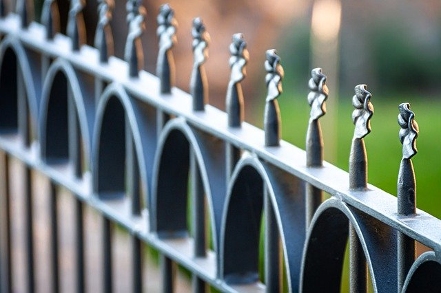 Iron fence with leaf detail