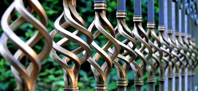 Wrought iron gate with elegant twisting gold details.
